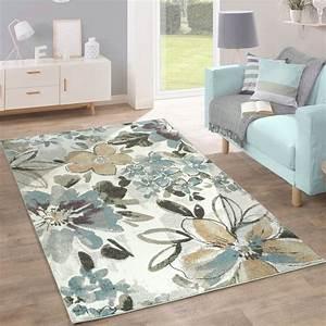 Teppich Für Essbereich : designer teppich modern wohnzimmer blumen muster pastell ~ Michelbontemps.com Haus und Dekorationen
