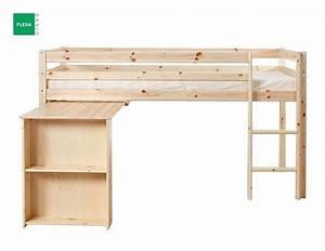 Lit Mi Haut Enfant : lit mi haut flexa avec bureau en pin vernis naturel couchage 90 x 200 ~ Teatrodelosmanantiales.com Idées de Décoration