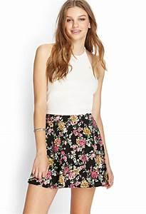 Forever 21 Floral Knit Skater Skirt in Floral (Black/multi ...