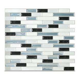smart tiles mosaik muretto brina 10 20 quot x 9 10 quot peel stick wall tile in charcoal white blue