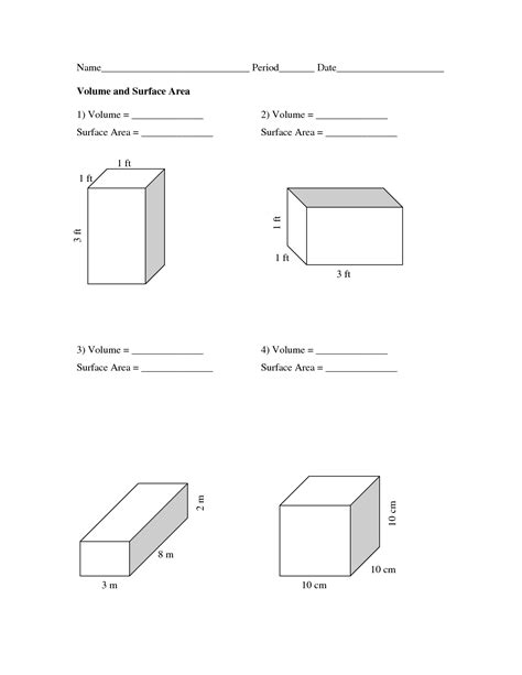 Volume And Surface Area Worksheets  Volume And Surface Area Worksheets  Pdf School