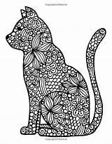 Mandala Cat Coloring Pages Getdrawings Adult sketch template