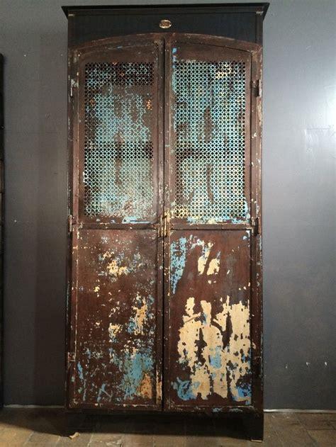 ancienne armoire m 233 tal patine d origine bleu 2 portes mi
