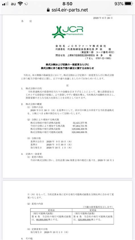 Jcr ファーマ 株価 掲示板