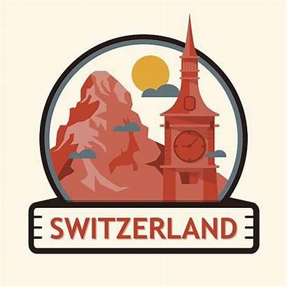 Swiss Alps Switzerland Clip Vector Cities Illustrations