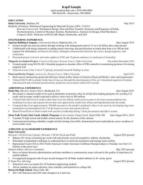 resume mechanical engineering senior