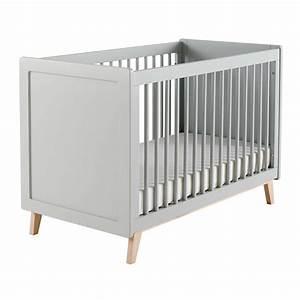 Lit bébé à barreaux en bois gris L 126 cm Sweet Maisons du Monde