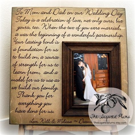 parents wedding gift personalized picture frame