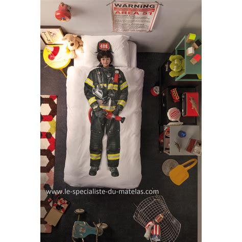 housse de couette pompier adulte lit camion de pompier
