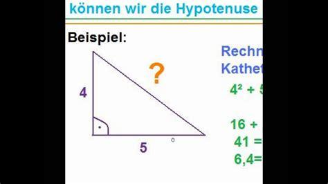 satz des pythagoras hypotenuse berechnen erlaeuterung