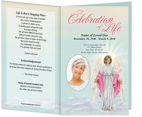 angelina funeral program template light dark skin