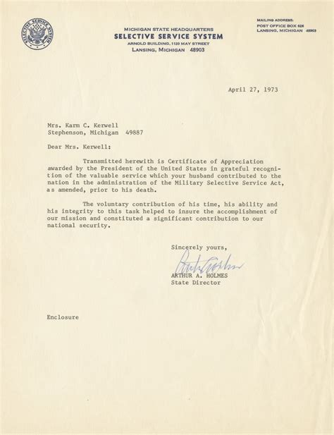 selective service system letter letter from selective service system to mrs karm c