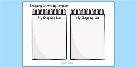 Shopping List Writing Template