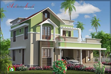 Contemporary Style Kerala House Elevation 92
