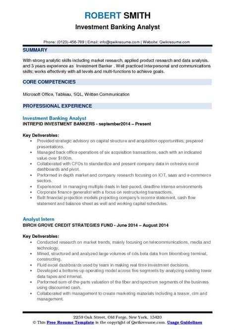 investment banking resume template investment banking analyst resume sles qwikresume