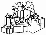 Christmas Xmas Colour Parcels Coloring Pages Presents Gifts Present Easy sketch template
