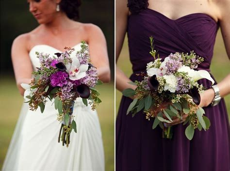 Bridesmaid Dresses And Bouquets In Dark Purple, White And