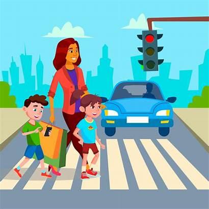 Road Crosswalk Safety Children Walk Cartoon Walking