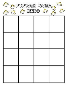 bingo card template word document this document is a blank bingo board kindergarten sight