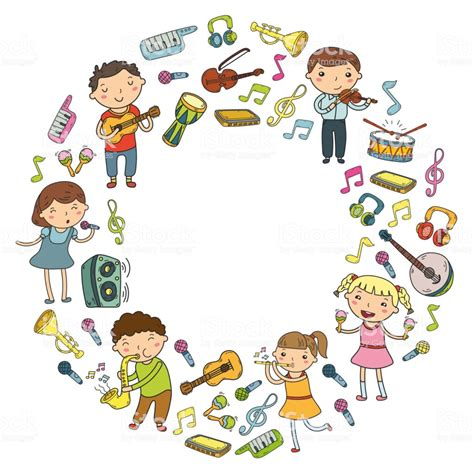Music School For Kids Vector Illustration Children Singing Songs Playing Musical Instruments