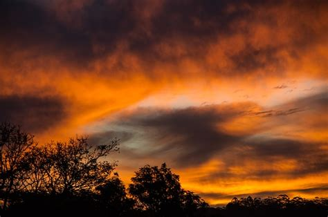 photo sunset sky clouds orange grey  image