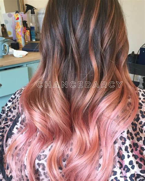 Wavy Pink Strawberry Balayage Ombre Long Blended Hair