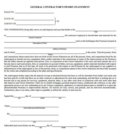 sworn statement template 12 sle sworn statements pdf doc pages sle