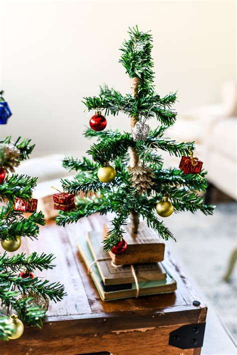 diy mini tabletop christmas tree the weathered fox