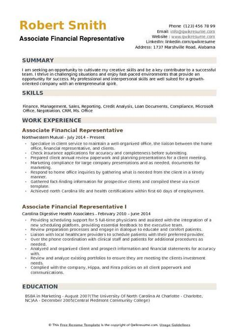 Financial Service Representative Resume by Associate Financial Representative Resume Sles Qwikresume