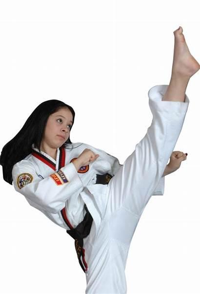 Martial Arts Ata Adult Kicking Woman Steps
