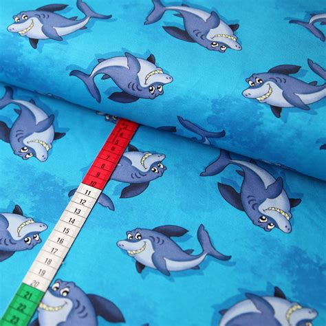 haie jersey stoff digitaldruck fische maritim blau top neu
