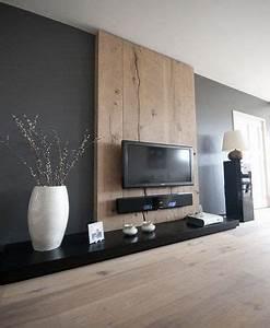 Deco Mur Interieur Moderne : d co salon du gris anthracite et du bois sur le mur dans ~ Teatrodelosmanantiales.com Idées de Décoration