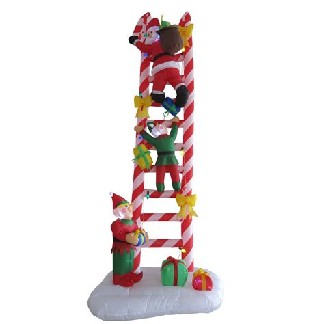 shop holiday living 8 ft x 3 ft lighted santa s ladder