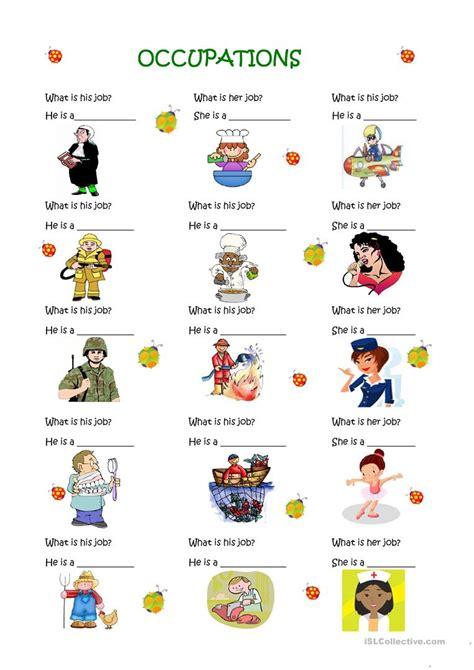 occupations worksheet  esl printable worksheets