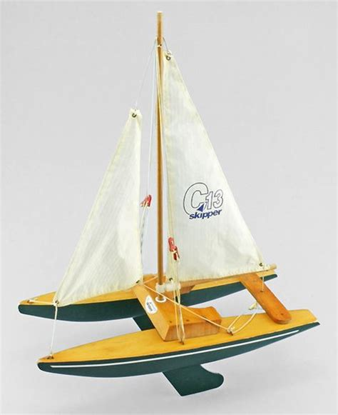 Sailing Boat Toy by A Wooden Toy Catamaran By Skipper Yachts Vintage Toy