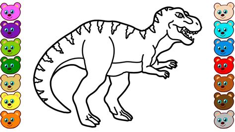 coloring  kids   rex dinosaur colouring book
