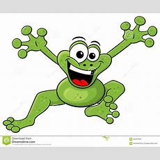 Jumping Cartoon Frog Isolated On White Stock Vector  Image 56307634