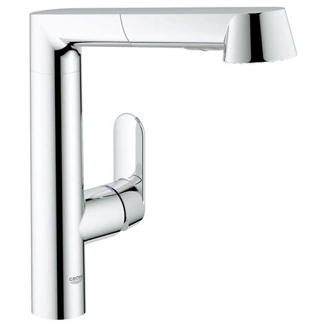 grohe k7 kitchen faucet grohe k7 main single handle pull out kitchen faucet in starlight chrome 32178000 the home depot
