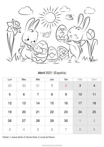 calendario  imprimir  colorear abril