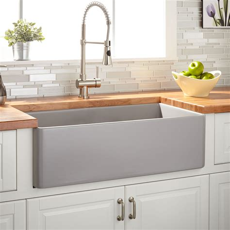 "30"" Reinhard Fireclay Farmhouse Sink  Gray  Kitchen"
