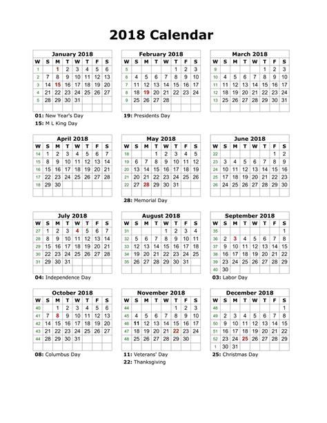 2018 Printable Calendar Year Free  Loving Printable