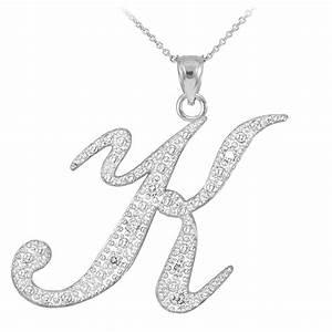 Diamond Script Letter K Pendant Necklace in 10K White Gold ...