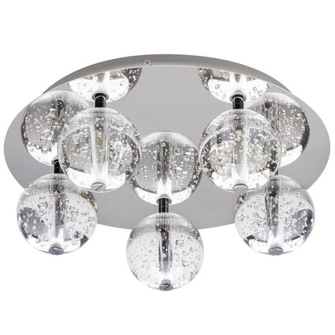 droplet 5 light led glass chrome flush ceiling light