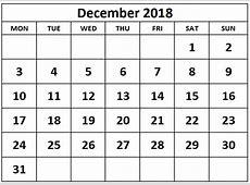 December 2018 Calendar Blank