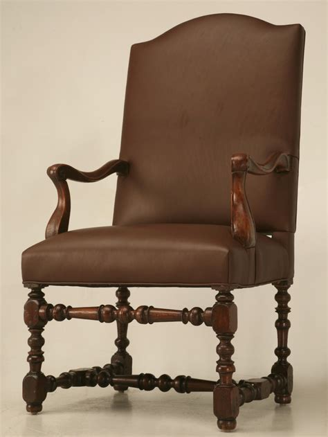 antique french leather throne chair  sale  plank