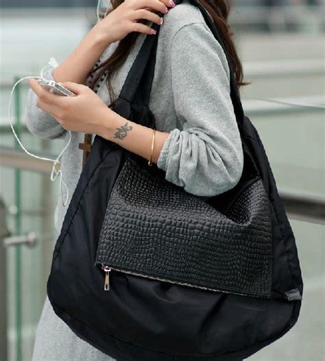 black leather shoulder bag nylon hobo bag  canvasbags