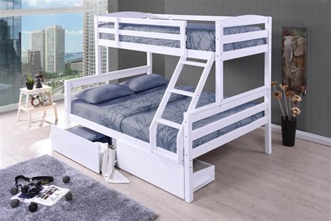 cosmos white duo double single bunk beds  drawers