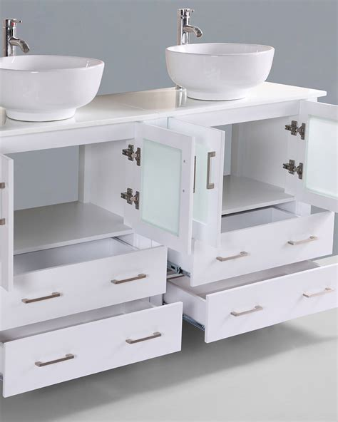 round vessel sink vanity glossy white 60in double round vessel sink vanity by