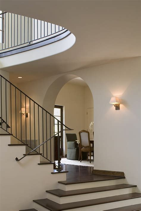 rustic outdoor ceiling stair railing ideas staircase contemporary with artwork