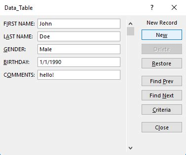 excel data entry form template create a data entry form in excel free microsoft excel tutorials